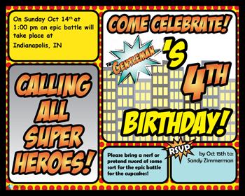 Birthday Invite - Super Hero2